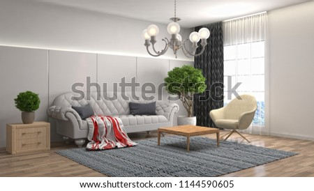 Interior of the living room. 3D illustration #1144590605