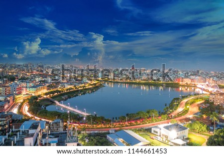 Building and Light at night with skyline of Dhaka city, Bangladesh #1144661453
