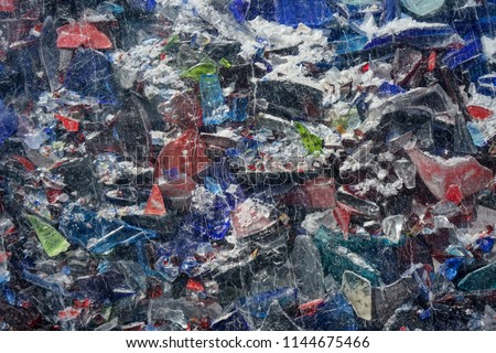 shattered colorful glass installation close up background design #1144675466