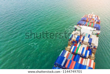 Logistics and transportation of Container Cargo ship and Cargo import/export and business logistics,Aerial view from drone #1144749701