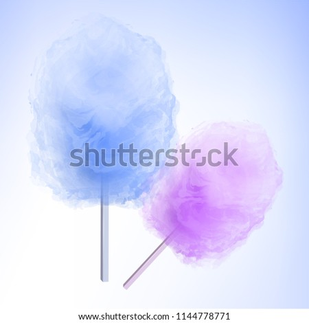 Colorful Cotton candy. Sugar clouds 3d vector illustration #1144778771