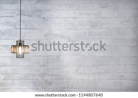 bright decorative stone wall and interior design, modern lamp #1144807640