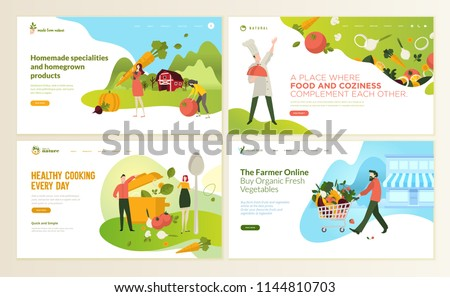 Set of web page design templates for food and drink, natural products, organic food, restaurant, online store. Vector illustration concepts for website and mobile website development.  #1144810703