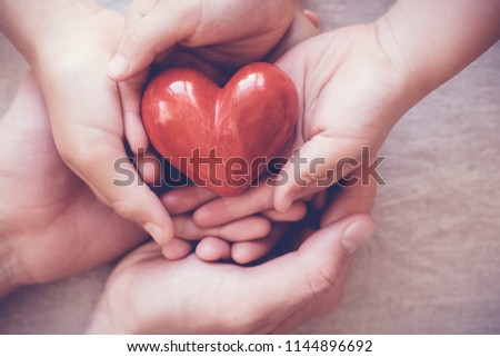 hands holding red heart, health insurance, donation, adoption foster family concept, international day of families #1144896692