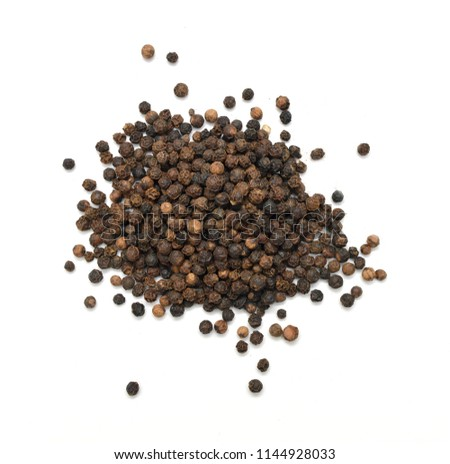 Black peppercorns, isolated on white background  #1144928033