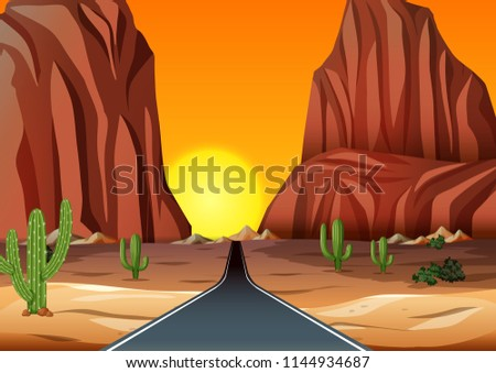Sunset in the desert with road illustration #1144934687