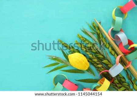 Jewish festival of Sukkot. Traditional symbols (The four species): Etrog, lulav, hadas, arava #1145044154