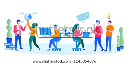 Concept People brainstorming around the table for web page, banner, presentation, social media, documents, cards, posters. Vector illustration, management team, team work, office workers, start up  #1145054876