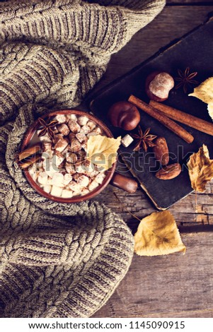 Hot cocoa with marshmallows with spices on the old wooden boards. Coffee, cocoa, cinnamon, nuts, star anise, cozy sweater Autumn Still Life #1145090915
