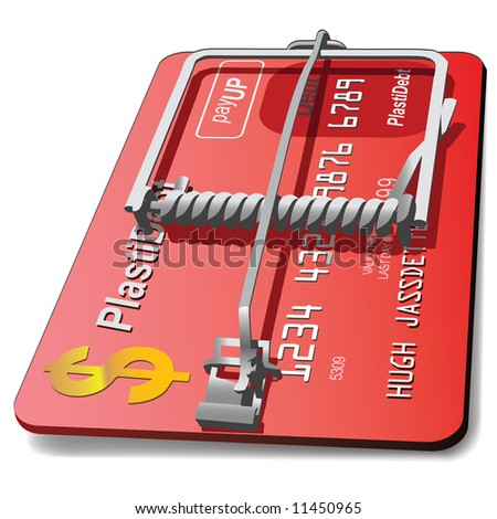 An  illustration of a credit card made into a mouse trap as a powerful concept in predatory lending. #11450965