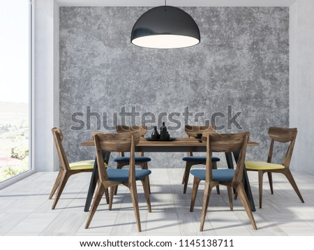 Panoramic dining room interior with concrete walls, a white wooden floor, and a wooden table with chairs. 3d rendering mock up #1145138711