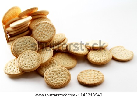 Marie biscuit in white background / Marie biscuit is a type of biscuit similar to a rich tea biscuit #1145213540