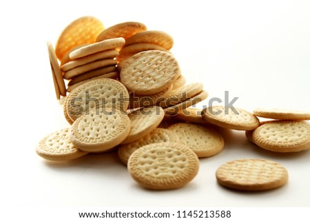 Marie biscuit in white background / Marie biscuit is a type of biscuit similar to a rich tea biscuit #1145213588