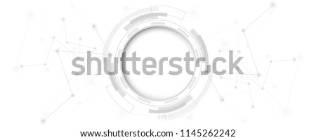 Grey white Abstract technology background with various technology elements Hi-tech communication concept innovation background Circle empty space for your text  Royalty-Free Stock Photo #1145262242