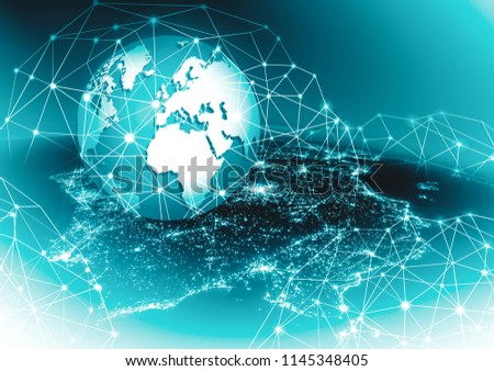 Earth from Space. Best Internet Concept of global business from concepts series. Elements of this image furnished by NASA. 3D illustration #1145348405