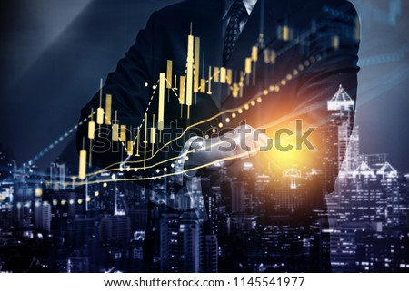 Stock market data on digital LED display. A daily market price and quotation of prices chart and candle stick tracking for Forex trading. #1145541977
