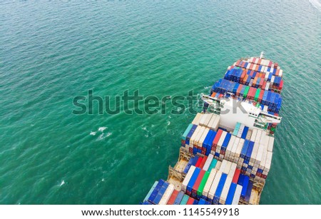 Logistics and transportation of Container Cargo ship and Cargo import/export and business logistics,Aerial view from drone #1145549918