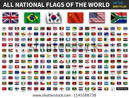 All national flags of the world . Realistic waving fabric texture with shadow design . Vector . #1145588738