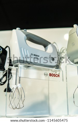 Warsaw, Poland, July 21, 2018 inside Bosch showroom, Hand mixers Bosch, Mix, Modern design for more enjoyment when baking, Very quiet, innovative, highly efficient, produced by BSH Home Appliances,  #1145605475