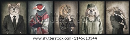 Animals in clothes. Concept graphic in vintage style. Wolf, Bird, Lion, Dog, Elephant. #1145613344