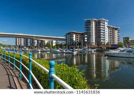 Wales, UK, July18, 2018. Modern Apartments  on a sunny day, Cardiff Bay #1145631836