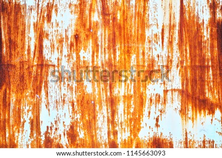 Rusted white painted metal wall. Rusted metal background with streaks of rust. Rust stains. Rust texture. #1145663093