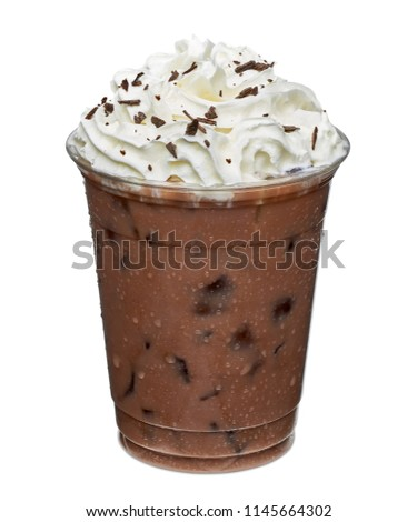 iced coffee with whipped cream in to go, takeaway or take out cup isolated on white background including clipping path. #1145664302