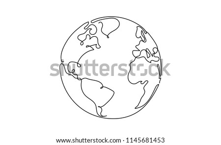 One line style world - Simple modern minimaistic style vector