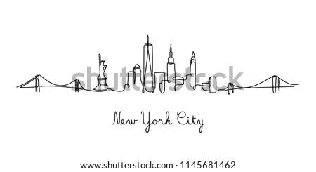 One line style New York City skyline. Simple modern minimaistic style vector. Royalty-Free Stock Photo #1145681462