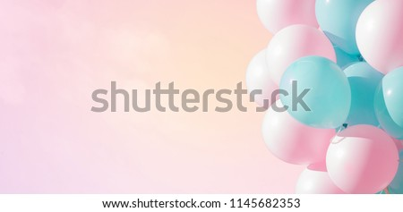Beautiful panoramic background with pink and blue balloons. Group of pastel party balloons on soft background. Concept of happiness, joy, birthday. Wide Angle Holiday Web Banner With Copy Space #1145682353