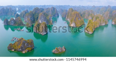 Lan Ha Bay of Ha Long Bay, Quang Ninh Province, Viet Nam. is a touristic fishing village of the UNESCO World Heritage Site in Vietnam. unmanned aerial view,  #1145746994