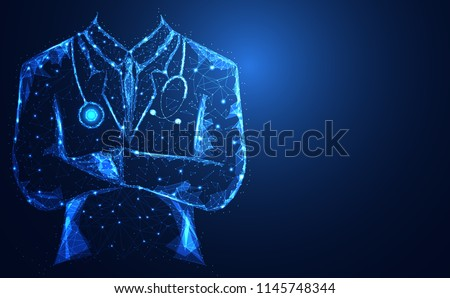 Abstract health medical science consist doctor digital wireframe concept modern medical technology,Treatment,medicine on gray background. for template, web design or presentation. Royalty-Free Stock Photo #1145748344