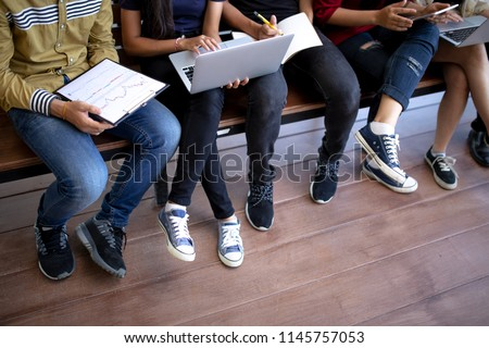 Back to school education knowledge college university concept,Students Education Social Media Laptop Tablet