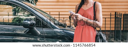 Car sharing rideshare mobile phone app woman using smartphone online to rent on travel holiday. Banner panorama. Technology device. #1145766854