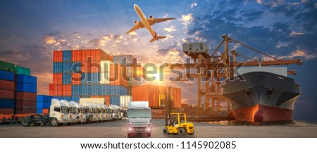 Logistics and transportation of Container Cargo ship and Cargo plane with working crane bridge in shipyard at sunrise, logistic import export and transport industry background #1145902085