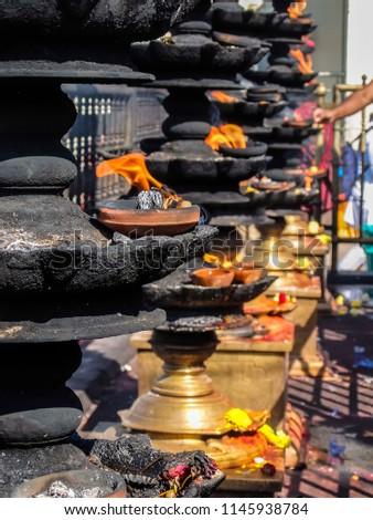 Tirupati, India - January, 2018. Devotees visit Balaji temple at Tirumala hill. The most visited place of Hindu pilgrimage. Sri Venkateswara Swamy Vaari Temple, Tirumala, Tirupati. #1145938784