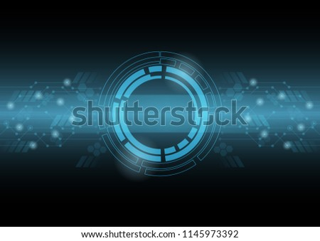 Abstract blue technology background with circle tech , Vector illustration #1145973392