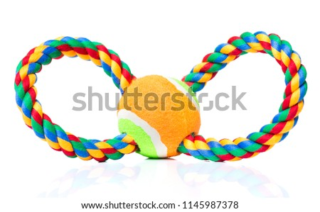 Dog toy - colorful cotton rope for games, isolated on white background with copy space #1145987378