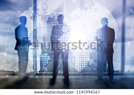 3D Earth hologram on blurred background.Global business and communication concept. #1145996567