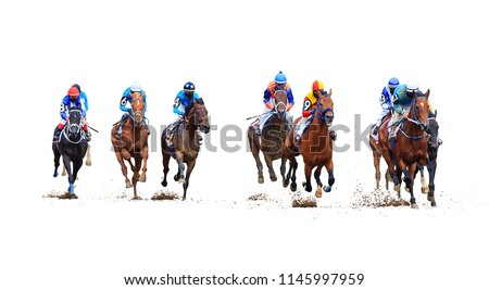 racing on the racetrack, finish, start on white background #1145997959