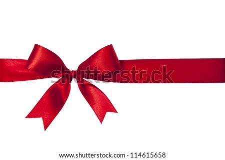 Shiny red satin ribbon on white background Royalty-Free Stock Photo #114615658
