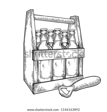 Beer bottles in box white hand drawn raster illustration. Scratch board style imitation. Black and white hand drawn image.
