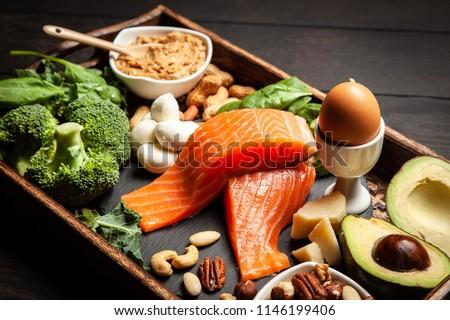 Keto diet food ingredients Royalty-Free Stock Photo #1146199406