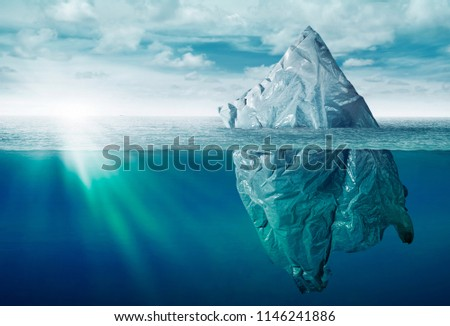 Plastic bag environment pollution with iceberg of trash  #1146241886