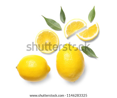 Beautiful composition with lemons on white background #1146283325