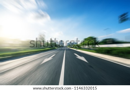 high speed view of asphalt road #1146332015