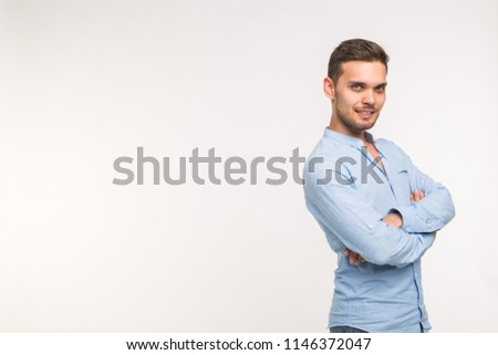 Self-confidence, business and people concept - Successful handsome man with smile on white background with copy space #1146372047