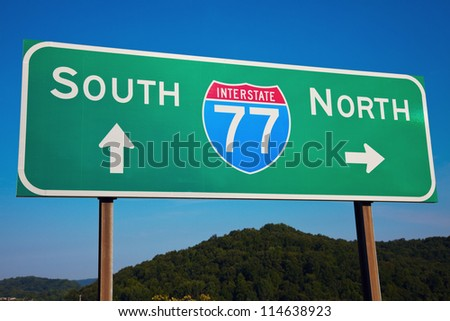 South or North? Highway 77 seen in Ohio, Cleveland area.