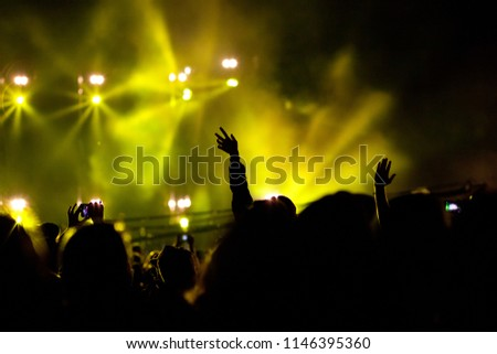 cheering crowd with raised hands at concert #1146395360