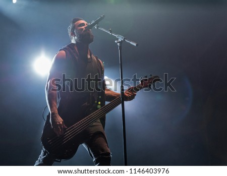 KIEV, UKRAINE - JULY 04, 2018: American Christian metal rock band Skillet and John Cooper, lead vocalist and bass guitarist performs live at the Atlas Weekend Festival in National Expocenter. #1146403976